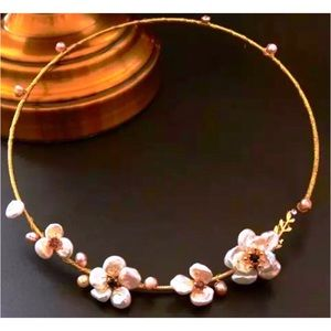 Jewelry - Genuine Pearl Floral Choker
